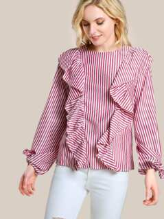 Ruffle Front Striped Long Sleeve Shirt RED