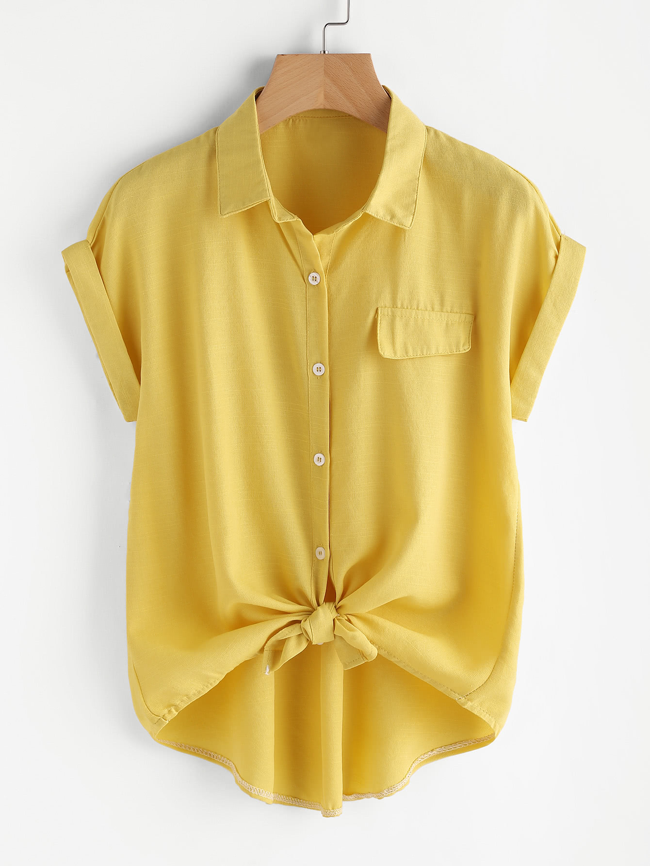 Rolled Cuff Knotted Hem Shirt solid rolled hem pants