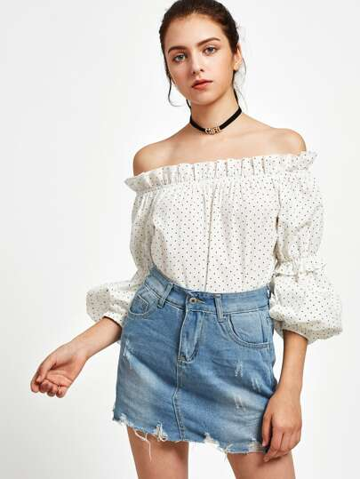 Frill Off Shoulder Puff Sleeve Polka Dot Top