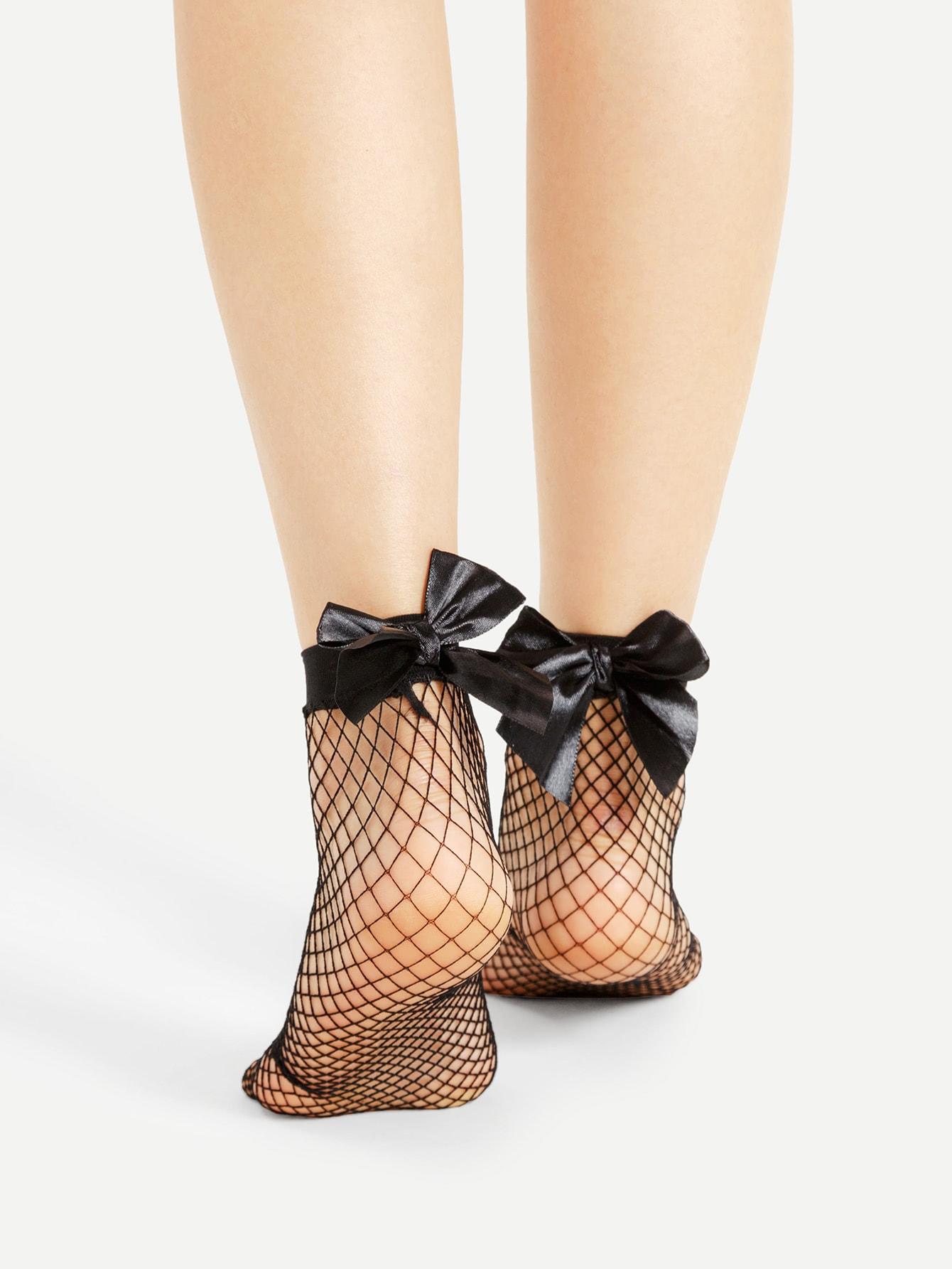 Bow Tie Back Fishnet Socks