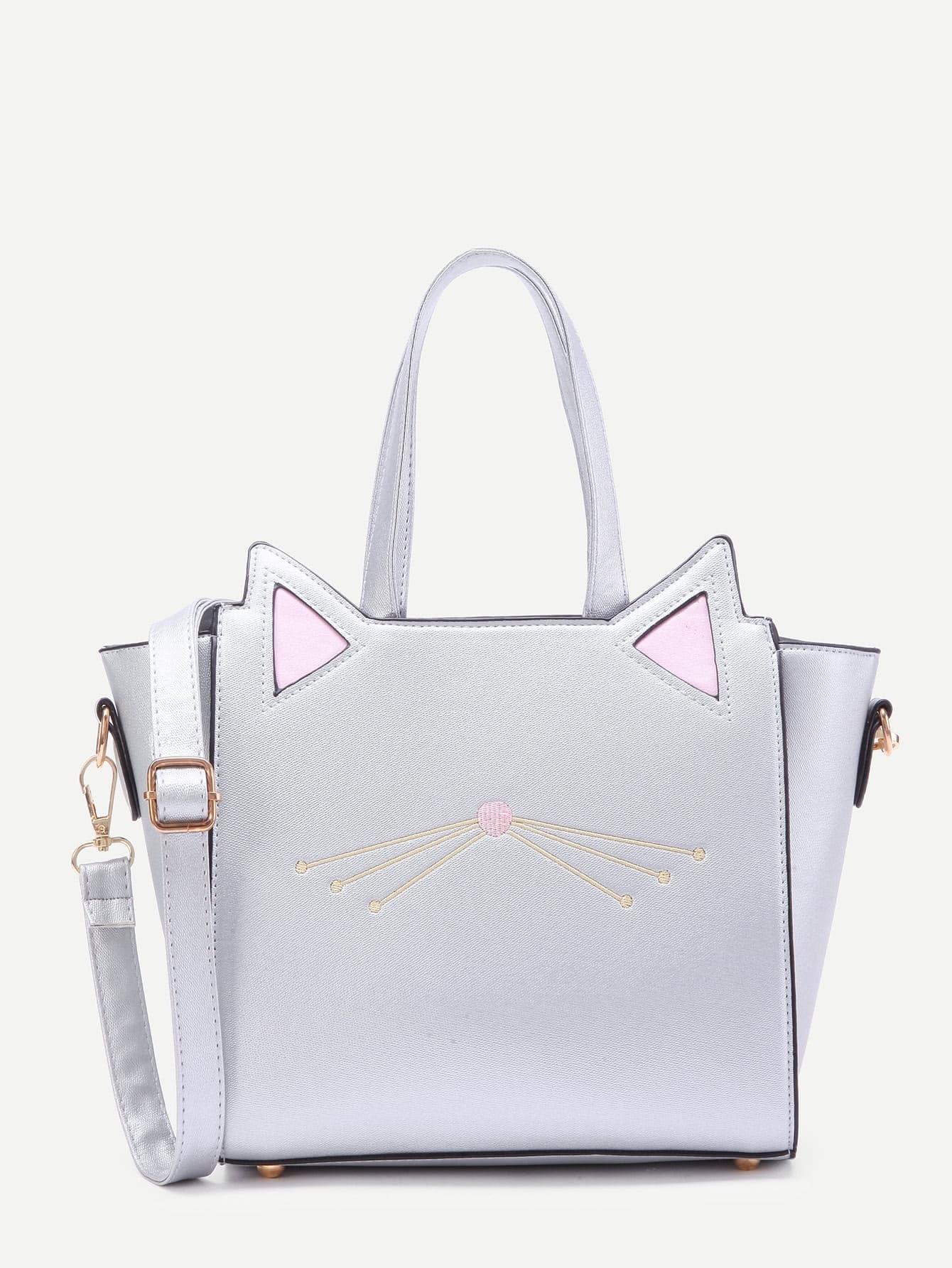 Фото Cat Ear Embroidery Detail PU Shoulder Bag. Купить с доставкой