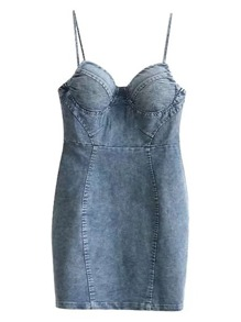 Cami Straps Denim Bodycon Dress