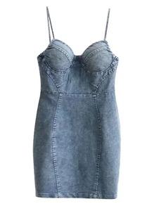 Cami Straps Denim Bodycon Dress