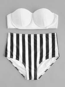 Striped Print Underwire Bikini Set With Removable Strap