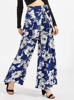 Self Belted Pleated Floral Palazzo Pants