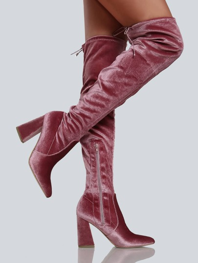 Faux Velvet Point Toe Thigh High Boots BLUSH