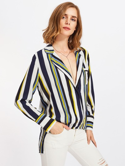 Piping Detail Revere Collar Stepped Hem Blouse