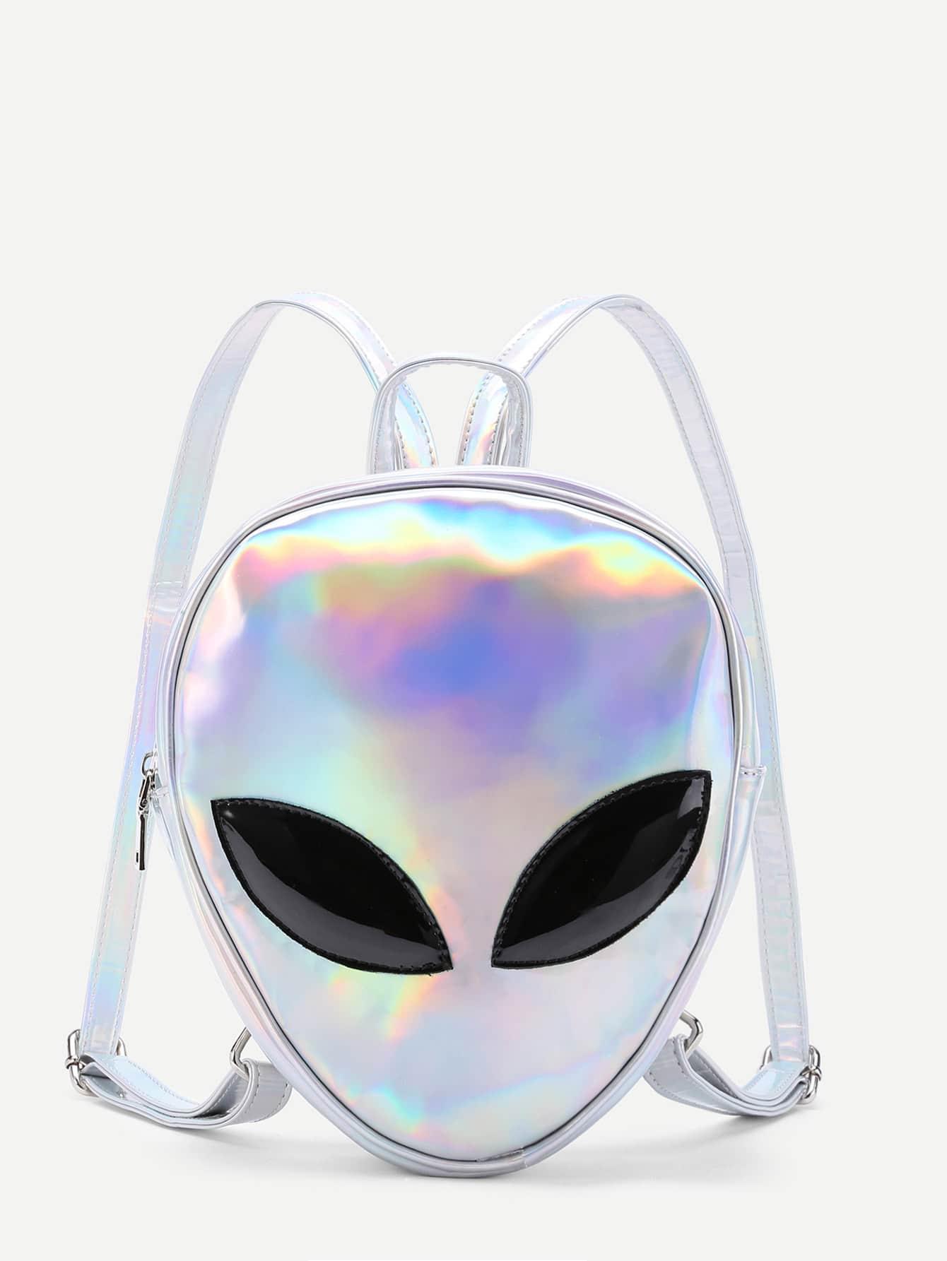 Iridescent Alien Shaped PU Backpack iridescent pu wallet
