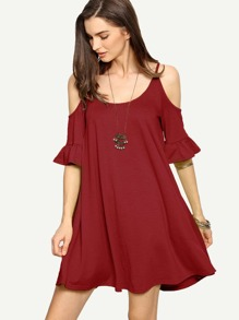 Cold Shoulder Ruffle Cuff Flowy Dress