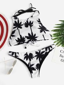 Set di bikini con incrocio sul retro e stampa di palma