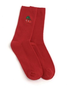 Cherry Embroidery Calf Length Socks