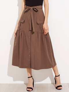 Self Belt Flap Pocket Front Tiered Skirt