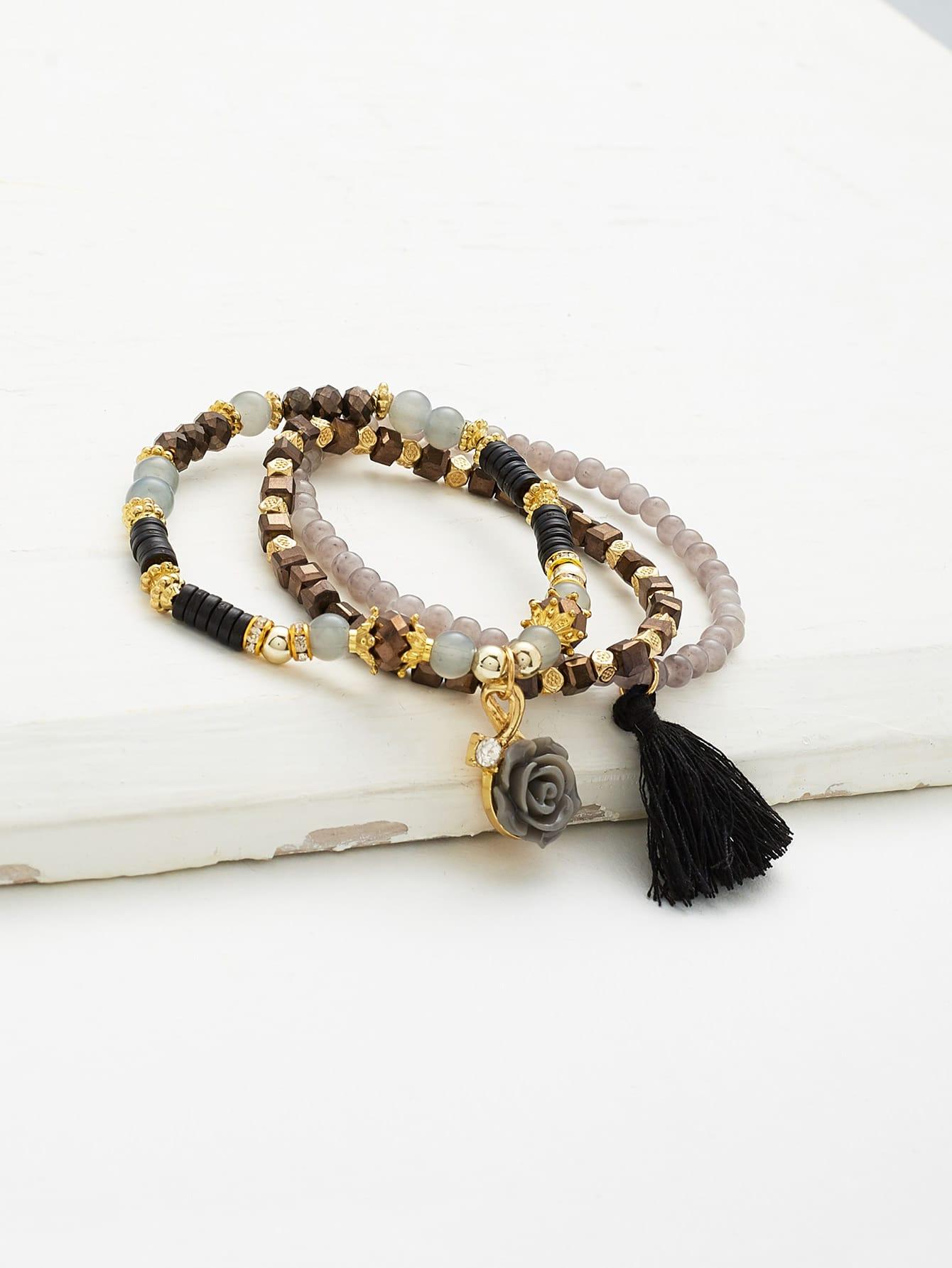 Фото Flower & Tassel Beaded Bracelet Set. Купить с доставкой