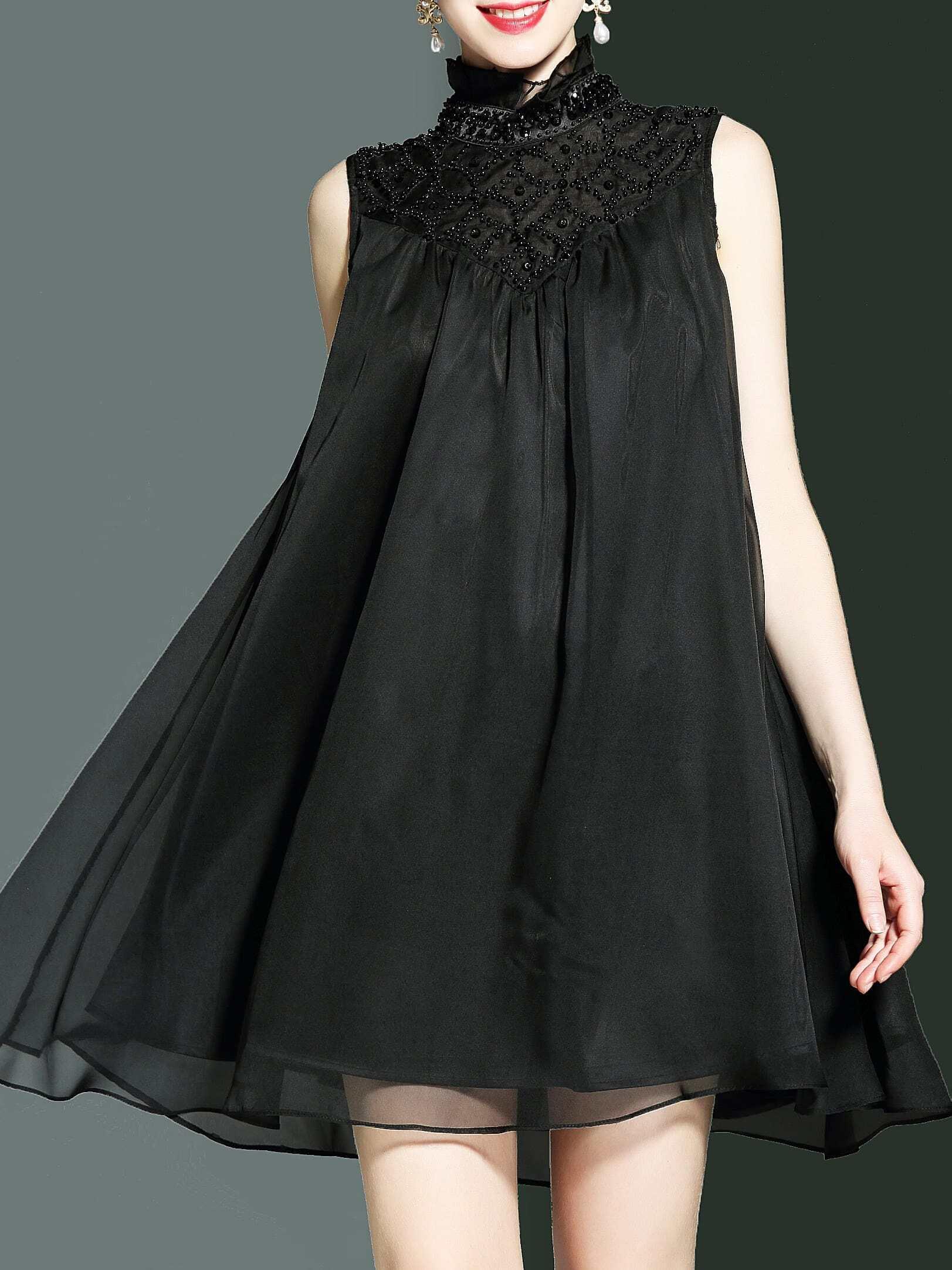 Фото Collar Beading Sleeveless Shift Dress. Купить с доставкой