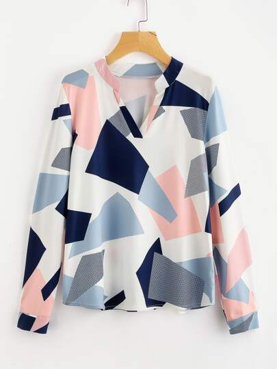 Abstract Geo Print Blouse