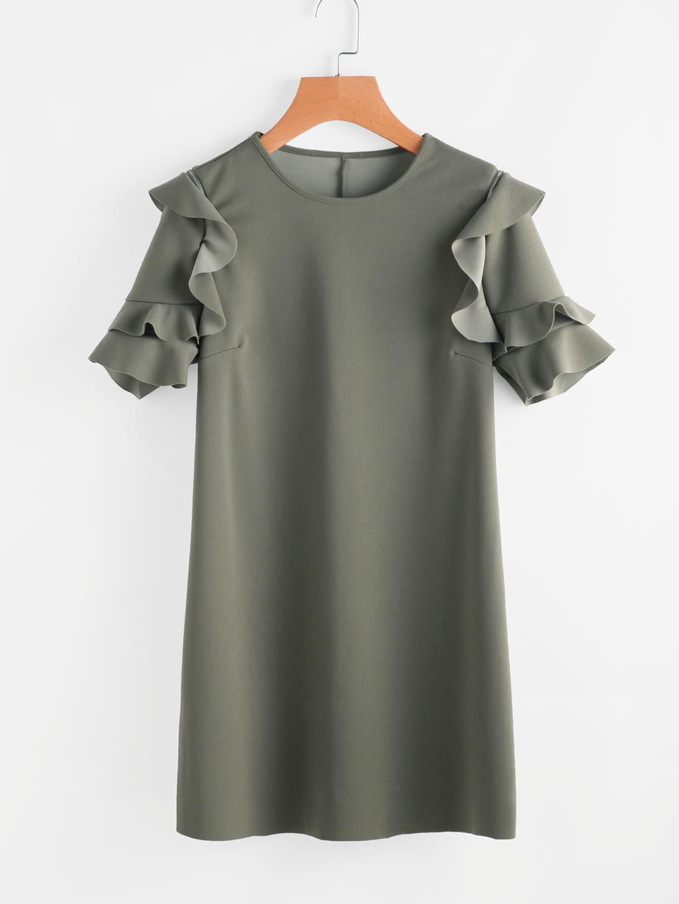 Frill Detail Sleeve Tunic Dress dress170706455