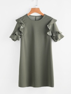 Frill Detail Sleeve Tunic Dress