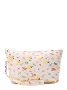 Cat Print Accessory Pouch With Wristlet
