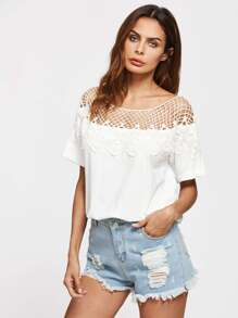 Hollow Out Crochet Neck Tee