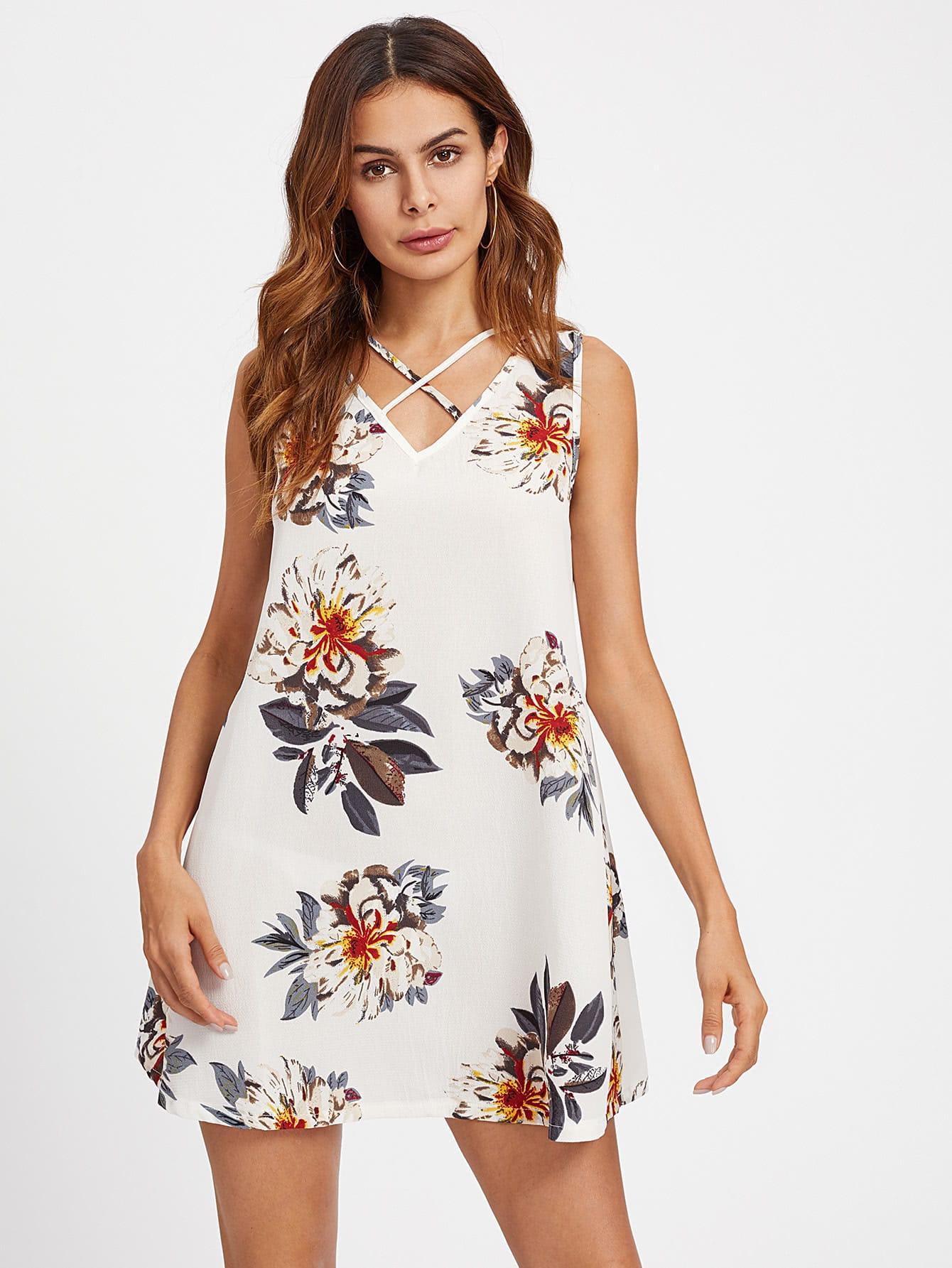 Strappy V-neckline Florals Dress