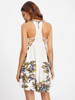 Flower Print Keyhole Racerback Lace Up Dress