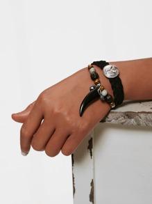 Horn Detail Woven Layered Bracelet