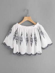 Bardot Frill Trim Embroidery Top