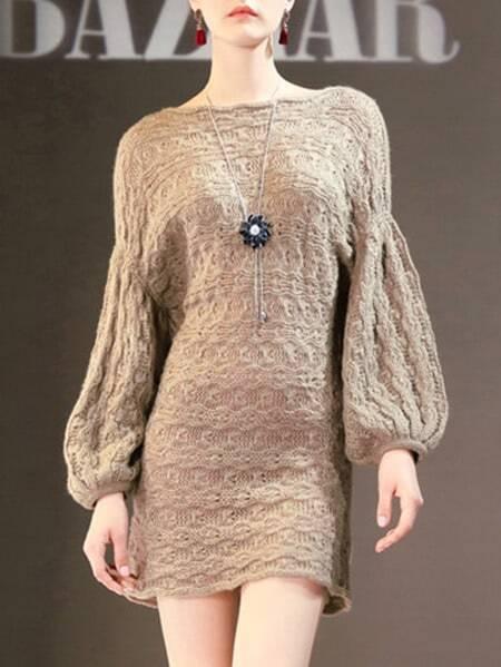 Фото Puff Sleeve Knit Shift Dress. Купить с доставкой