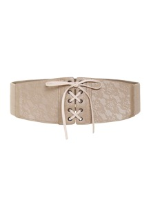 Lace Up Elastic Waist Belt