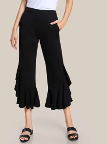 High Rise Frill Hem Pants BLACK