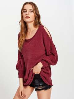 Open Shoulder Bishop Sleeve Jumper