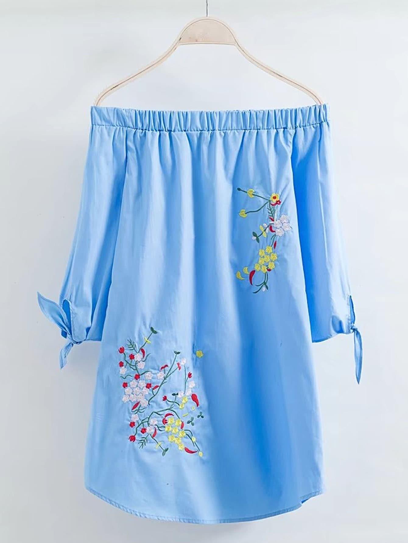 Фото Boat Neckline Knot Cuff Embroidered Dress. Купить с доставкой