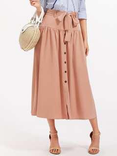 Self Belted Button Up Drop Waist Skirt