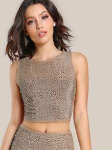 Diamond Embellished Crop Top NUDE SILVER