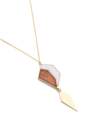 Wood Detail Geometric Pendant Necklace