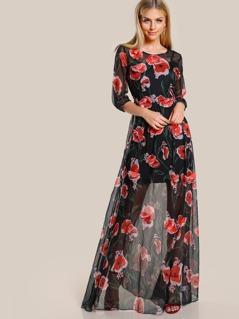 Quarter Sleeve Rose Applique Dress BLACK