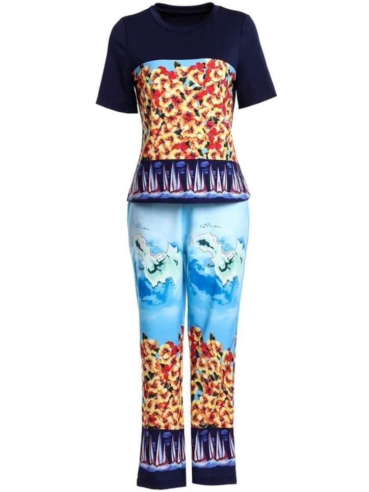 Фото Color Block Top With Floral Pants. Купить с доставкой