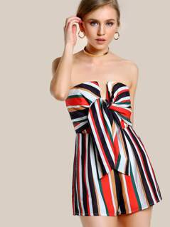 Tie Front Striped Tube Romper