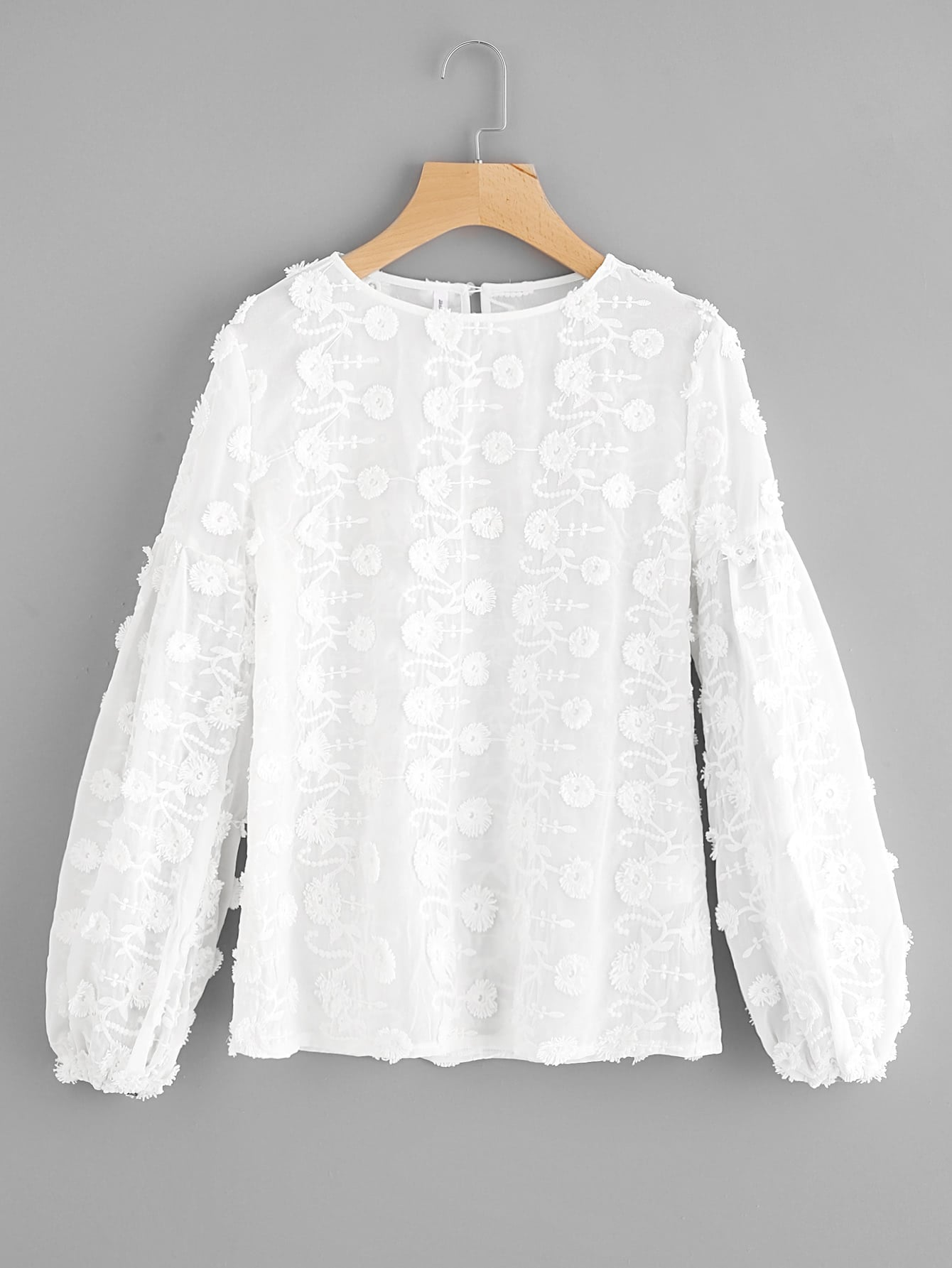 Buttoned Keyhole Flower Applique Embroidered Top buttoned keyhole back 2 in 1 embroidered mesh top