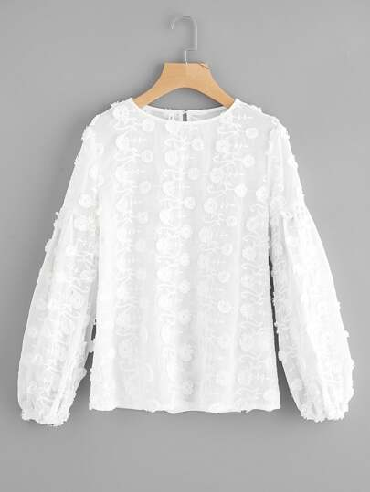 Buttoned Keyhole Flower Applique Embroidered Top