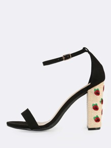 Embroidered Ankle Strap Straw Heels BLACK