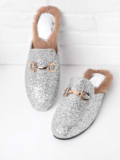 Glitter Overlay Loafer Mules With Faux Fur