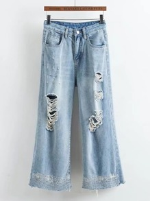 Embroidery Ripped Wide Leg Jeans
