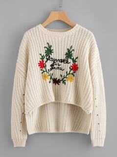 Flower Embroidered Stepped Hem Jumper