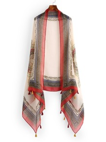 Graphic Print Scarf With Tassel