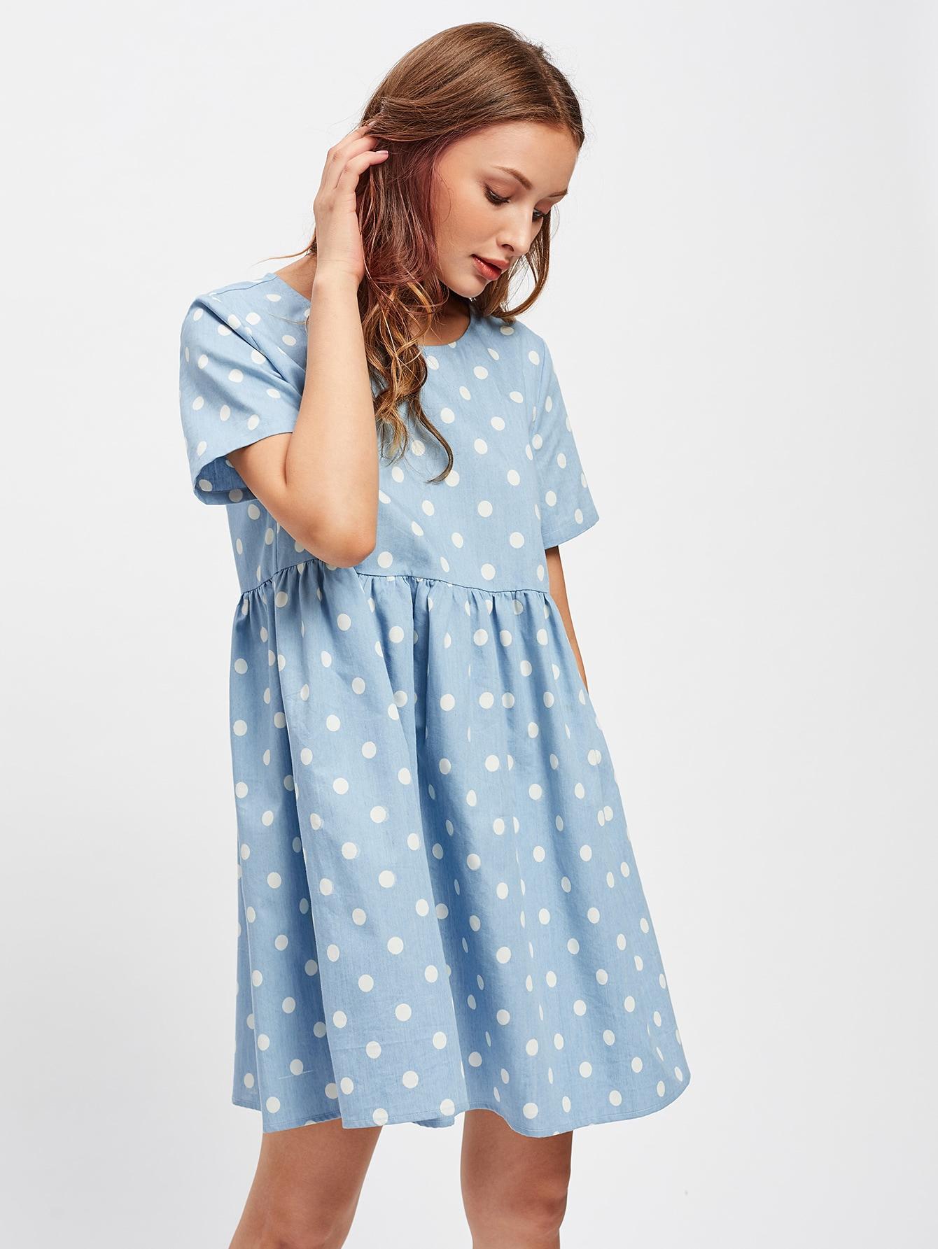 Image of Polka Dot Print Smock Dress
