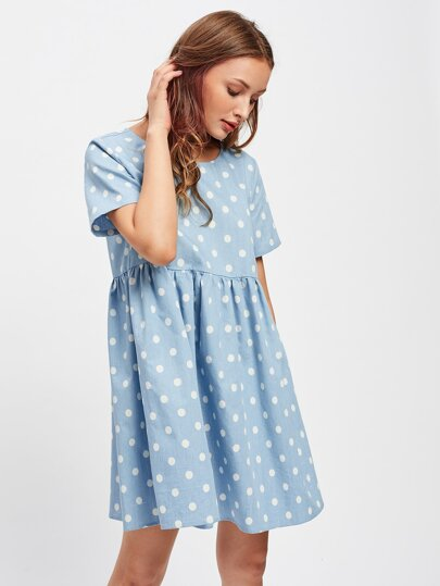 Polka Dot Print Smock Dress