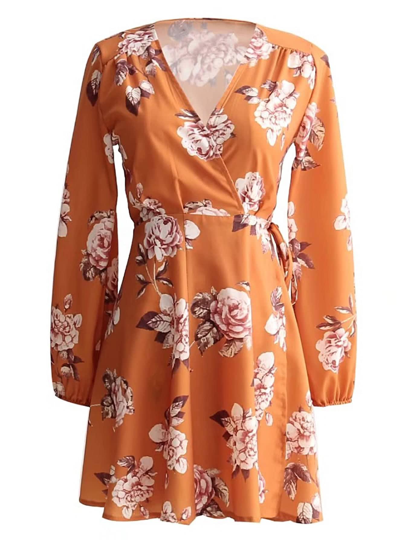 Фото Floral Print Tie Waist Wrap Dress. Купить с доставкой