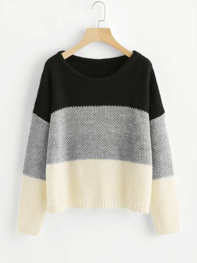Pull-over fendu color-block