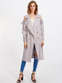 Drawstring Open Shoulder Trench Coat